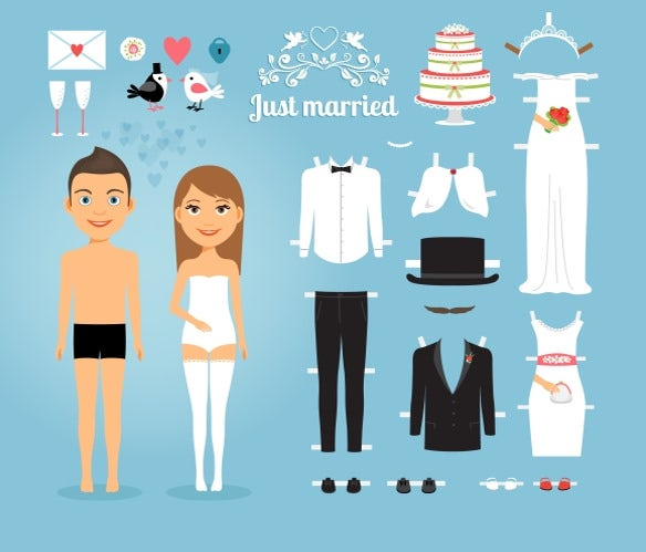 just married paper dolls1