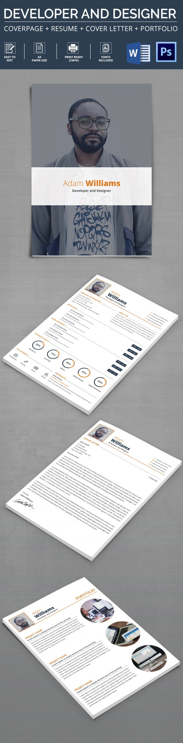 Developer U0026 Designer Resume + Cover Letter + Portfolio Template