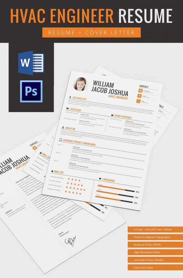 havc engineer resume cover letter template in psd and word fomat