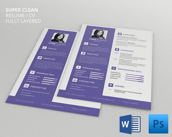 clean developer resume cv template. Resume Example. Resume CV Cover Letter