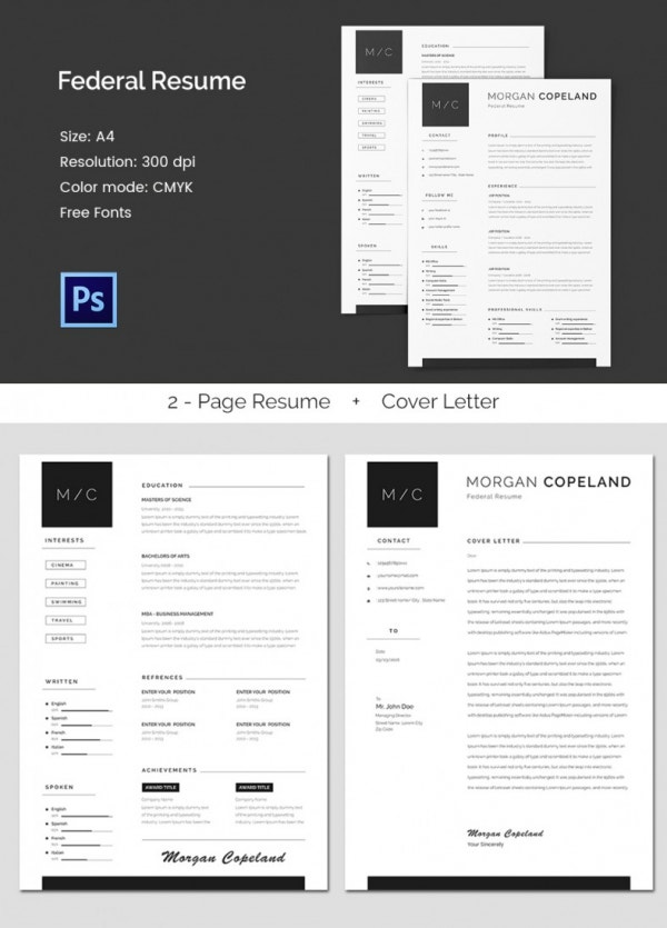 federal a4 resume template. Resume Example. Resume CV Cover Letter