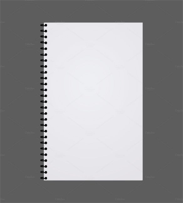 Blank Realistic Spiral Notepad EPS Download  Notebook Template For Word