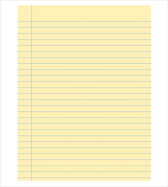 free printable notebook paper template – blank