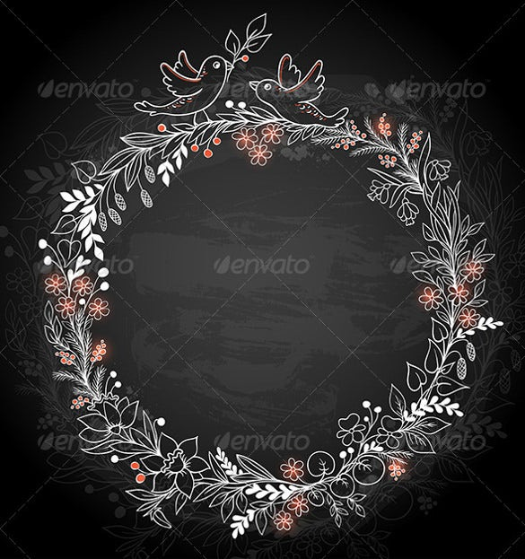 frame of flowers on a black background eps download