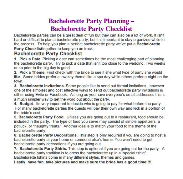 bachelorette party planning example pdf free download