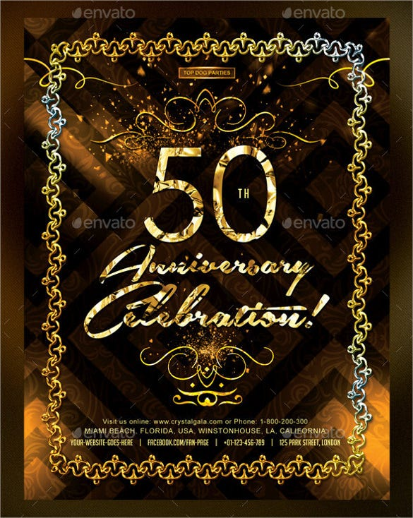 Golden Coloured 50th Birthday Invitation Template  Online Birthday Invitations Templates