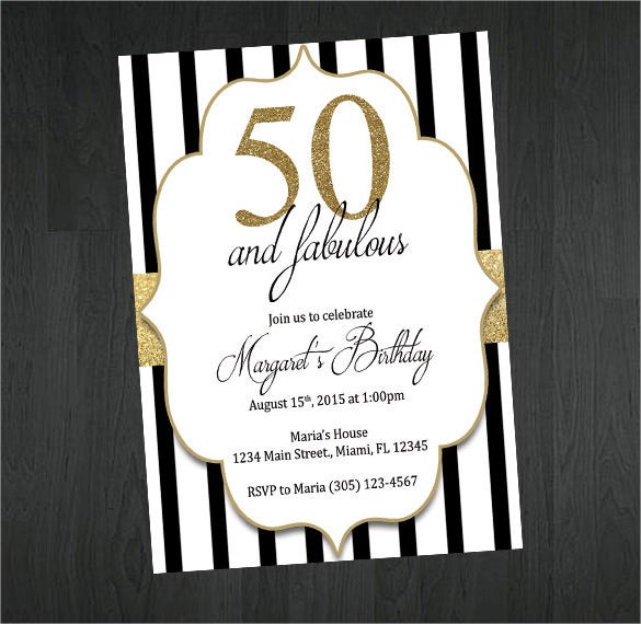 Gold Black and White 50th Birthday Invitation