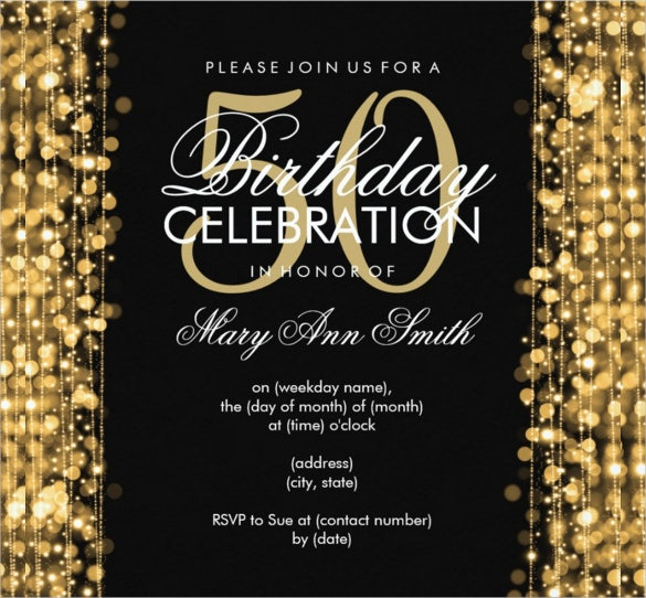 gold sparkled elegant 50th birthday party invitation