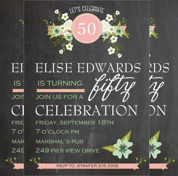 chalkboard style 50th birthday invitation