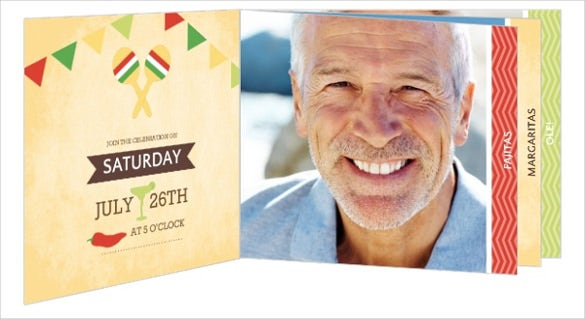 mexican fiesta themed 50th birthday invitation