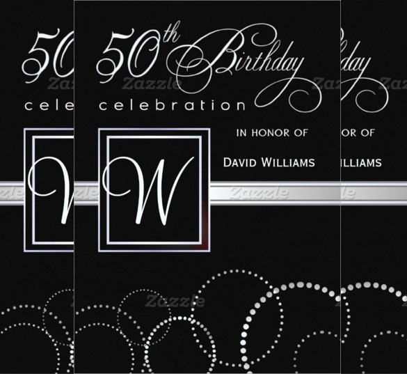 Black Themed 50th Birthday Invitation Card Design