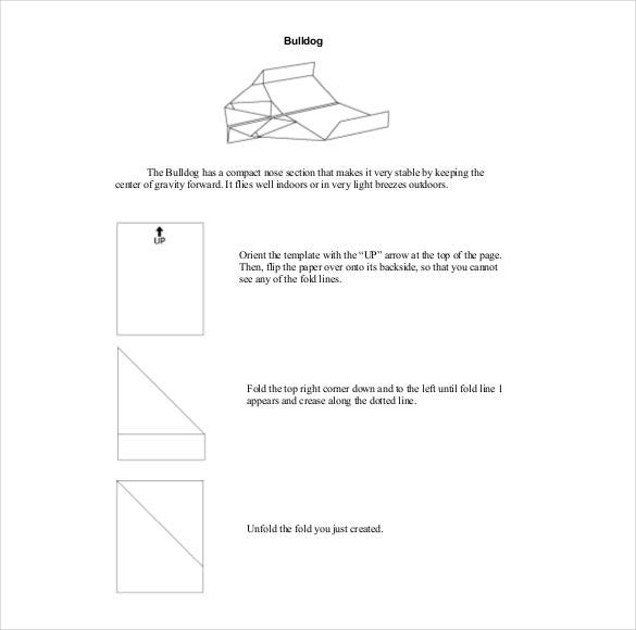 bulldog paper airplane instruction example