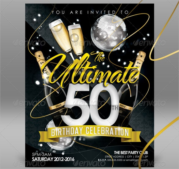 Creative And Beautiful 50th Birthday Invitation Template