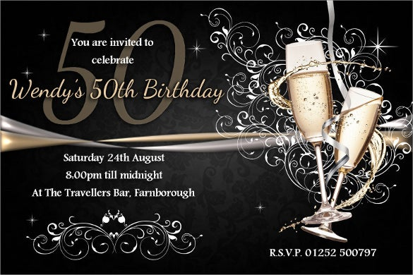 Personalised Black 50th Birthday Invitation Template