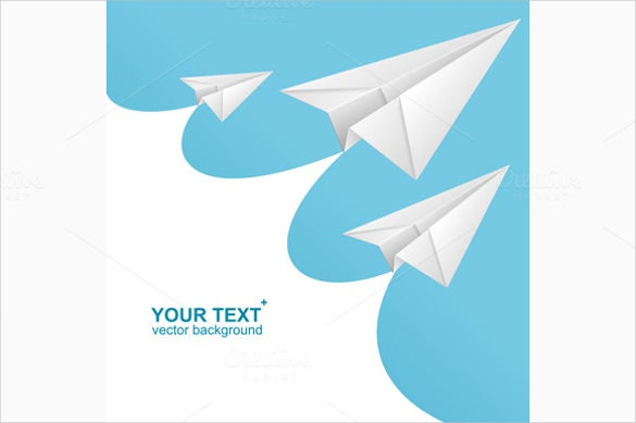 vector white paper airplane card – 5