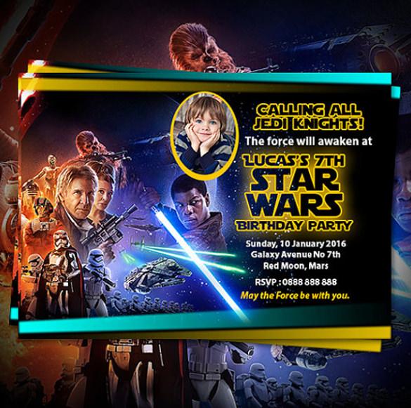star wars birthday invitation for kids