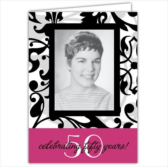 custom photograph framed 50th birthday invitation
