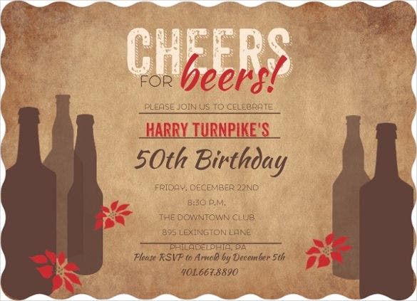 brown coloured beer themed 50th birthday invitation