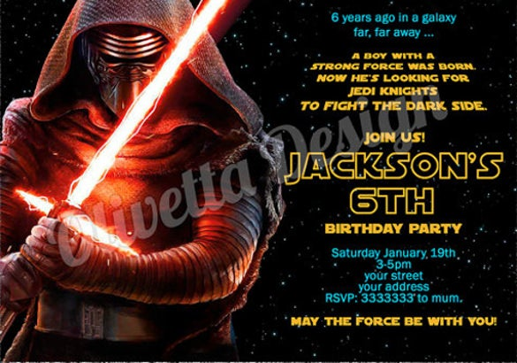 Force Awakens Star Wars Birthday Invitation