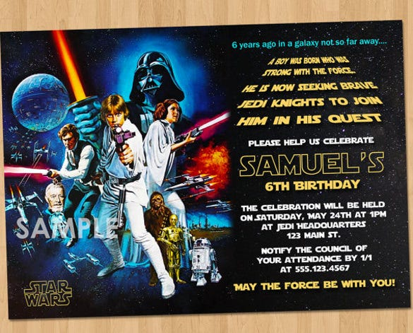 Blue Star Wars Invitation For Birthday Party