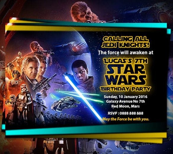 Personalized Star Wars Birthday Party Invitations