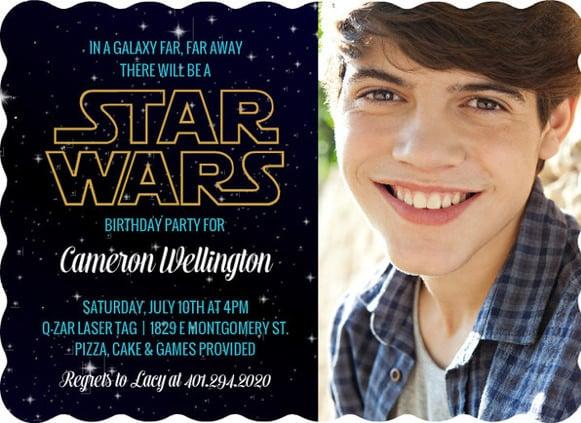 starry sky star wars birthday invitation