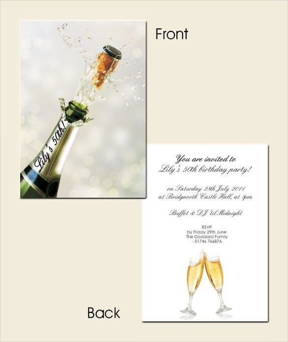 champagne bottle themed 50th birthday invitation