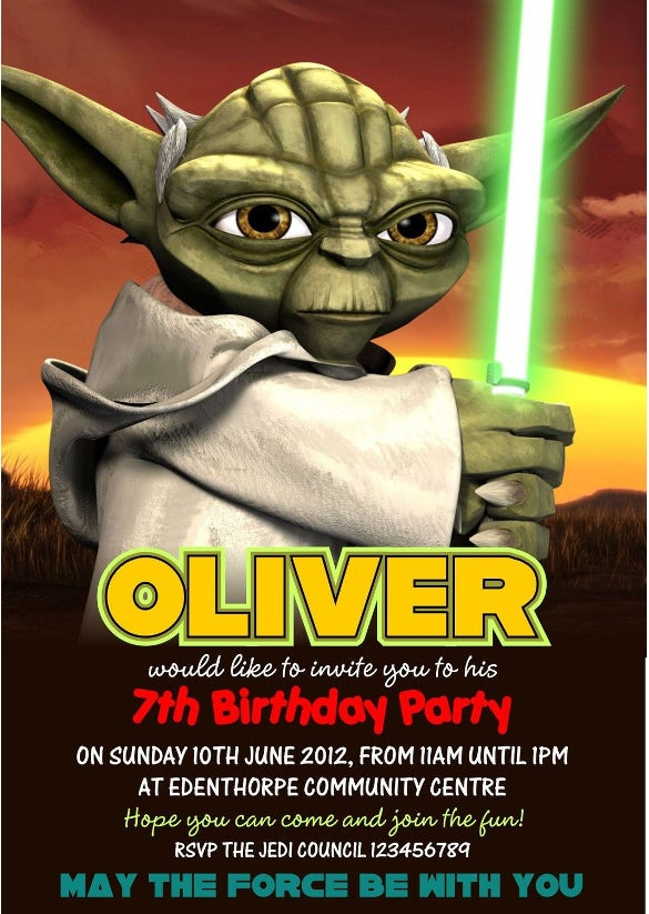 11 Star Wars Birthday Party Invitations Psd Vector Eps