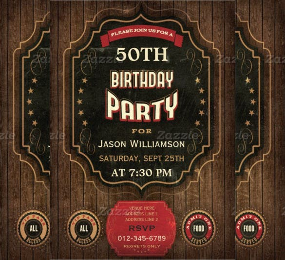 vintage chalkboard wood 50th birthday invitation template