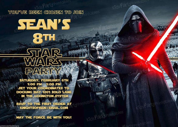 20 star wars the force awakens birthday party invitations