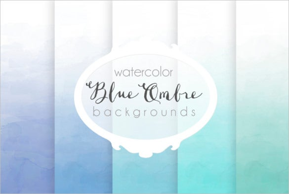 6 blue ombre watercolor backgrounds