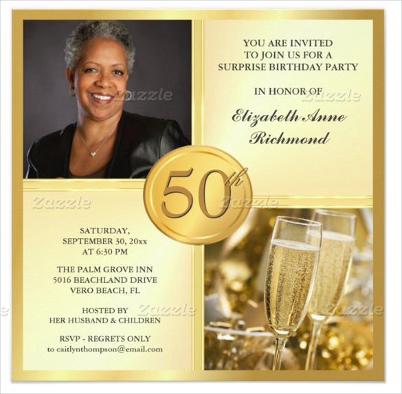 Gold Coloured 50th Birthday Invitation With Custom Photo