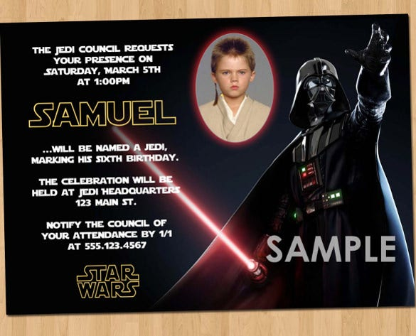dark star wars birthday party invitation