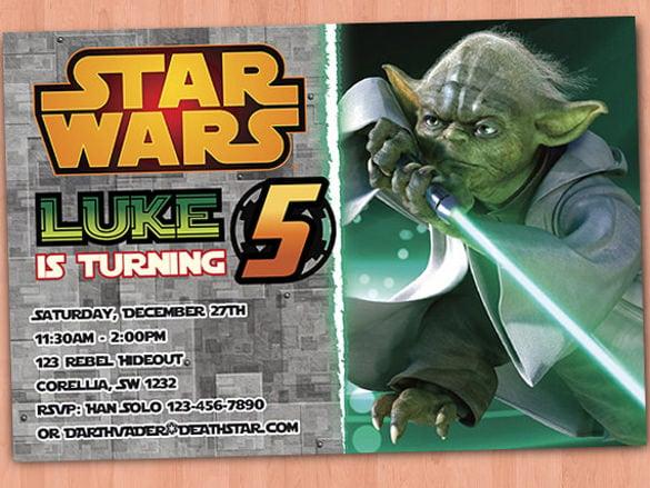 simple star wars birthday invitation