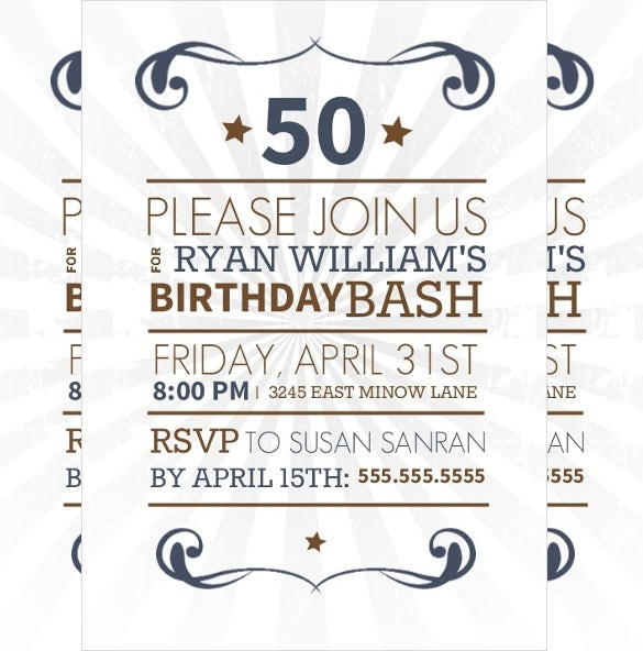simple western designed 50th birthday invitation