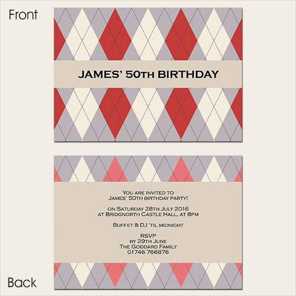 red argyle mens 50th birthday invitation