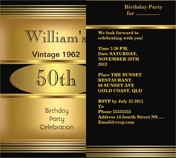 Vintage 50th Birthday Invitation For Men