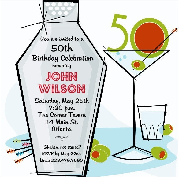 retro martini themed 50th birthday invitation template1