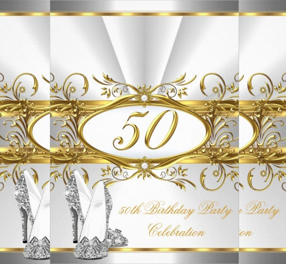 Gold And Silver Colour 50th Vintage Birthday Invitation