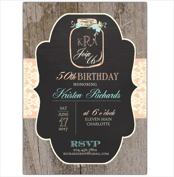 rustic chalk mason coloured 50th birthday invitation template