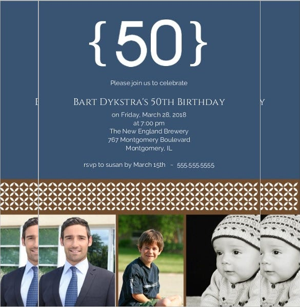blue color three photo 50th bithday invitation template