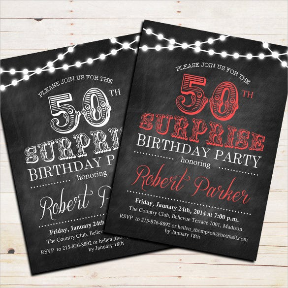 simple black colored 50th birthday party invitation