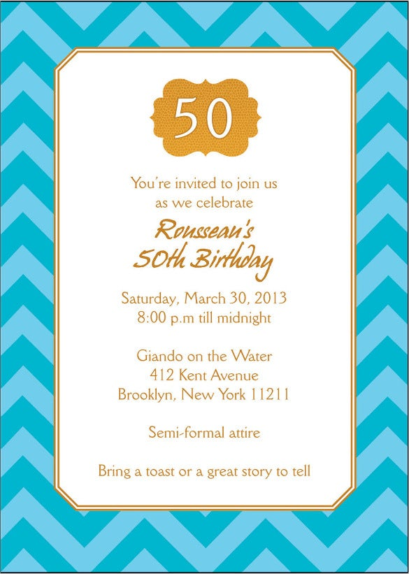 Gold And Blue Chevron Personalized 50th Birthday Party Invitation