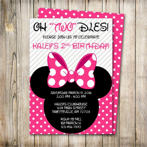 Simple Pink Minnie Mouse Birthday Invitation