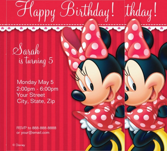minnie mouse red and white birthday invitation1