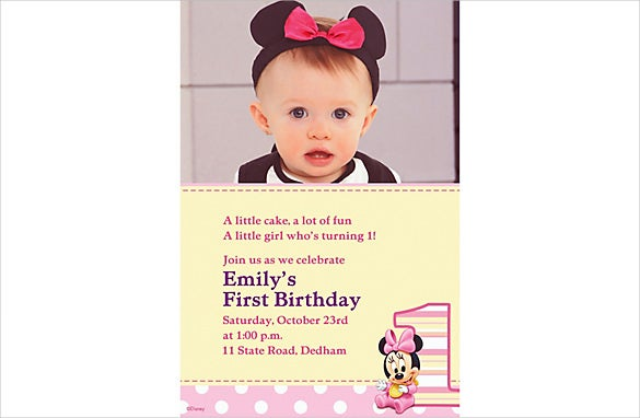custom minnie mouse birthday photo invitation