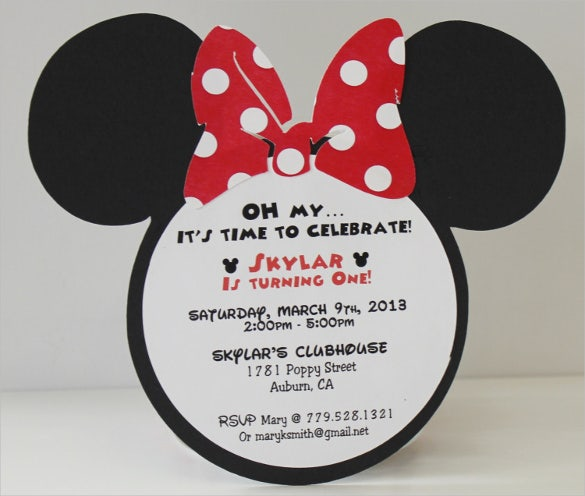 Minnie Mouse Birthday Invitation For Kids