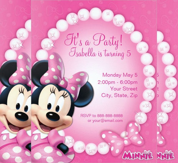 Disney Minnie Mouse Pink And White Birthday Invitation
