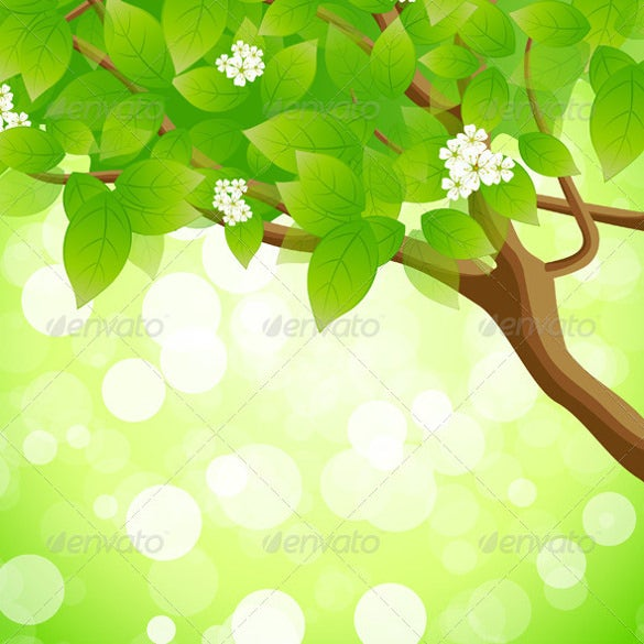 green background with tree flowers and sparkles eps format