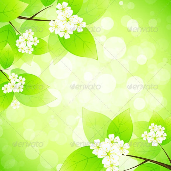 green background with tree branch flowers eps